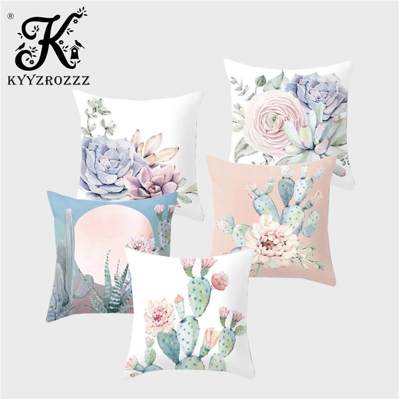 Fashion Decorative Plant Cushion Set Tropical Rainforest Cactus Green Leaf Flower Polyester Printed Home Car Sofa Pillowcase
