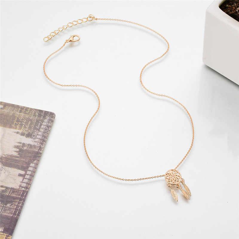1 sztuk urok akcesoria biżuteria ślubna czeski Feathers naszyjnik złoto srebro Dream Catcher wisiorek naszyjnik dla dziewczyn moda