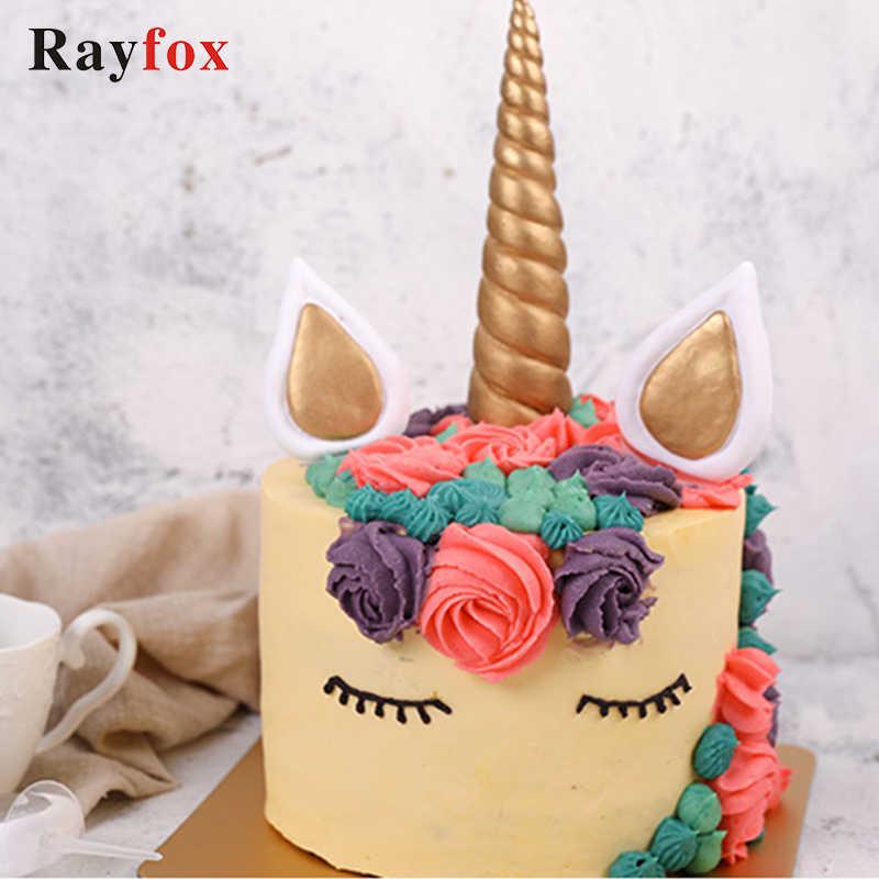 3 Pcs Set Unicorn Cake Topper Birthday Unicornio Decoration Licorne Horn Gold