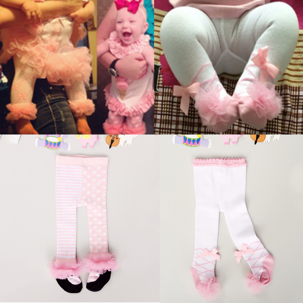 0-24M Winter Autumn Newborn Baby Girl Tights Cotton Bow Lace Dance Stocking Pantyhose Infantil Clothes Ballet Tights Princess newborn infant rib knit baby high quality girl tights casual warm baby tights dance baby pantyhose baby girl clothes