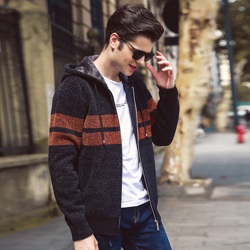 2018 New Winter Cardigan Hooded Sweater Male Europe And The United States Plus Velvet Thick Sweater Young Men's Hoodie