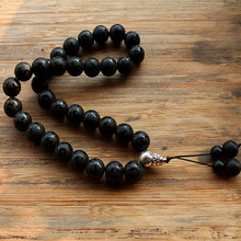 Black Stone Bead 33 Prayer Beads Islamic Muslim Tasbih Allah Mohammed Rosary for women men