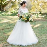 Hot Sale Garden Wedding Dresses Lace Scoop Tulle A Line Bride Dress robe de mariee 2017