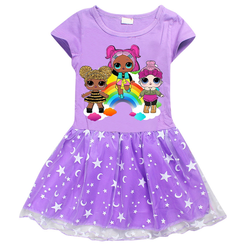 lol roblox dress baby girl Casual Short Sleeved round Ball Gown collar cartoon dress baby girl clothes children clothing