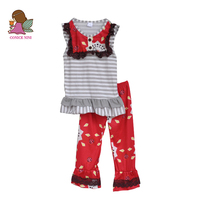 New Arrived Baby Girls Spring Summer Boutique Outfits Girls Clothing Children Adorable Clothes Stripped top Print pants S098
