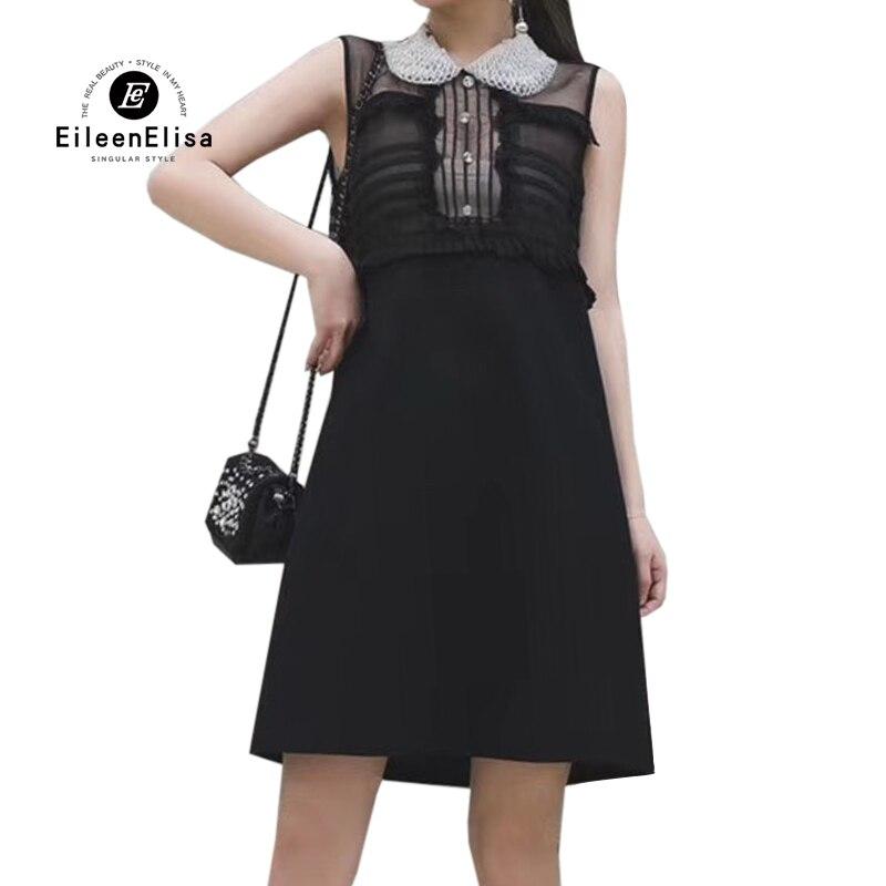 Черные платья элегантные женские мини платья для вечеринок 2019 Бисероплетение Питер Пэн манжета без рукавов для дам