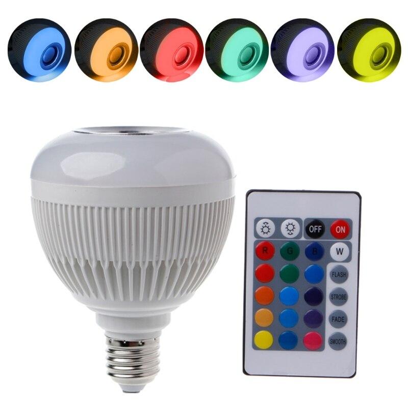 12 Вт E27 <font><b>LED</b></font> RGB Беспроводной Bluetooth Динамик лампочки музыка играет лампа + пульт затемнения Лампы для мотоциклов