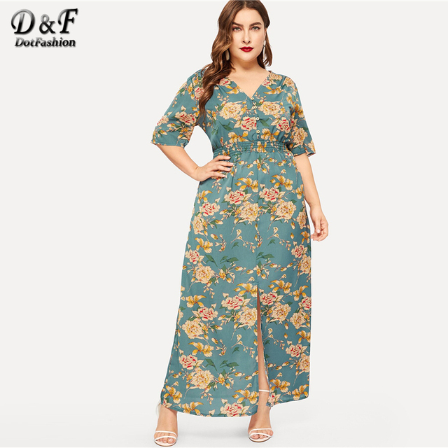 Dotfashion Plus Size Green Floral Print Split Dress Women 2019 Boho Summer V Neck Half Sleeve A Line High Waist Maxi Dresses 3