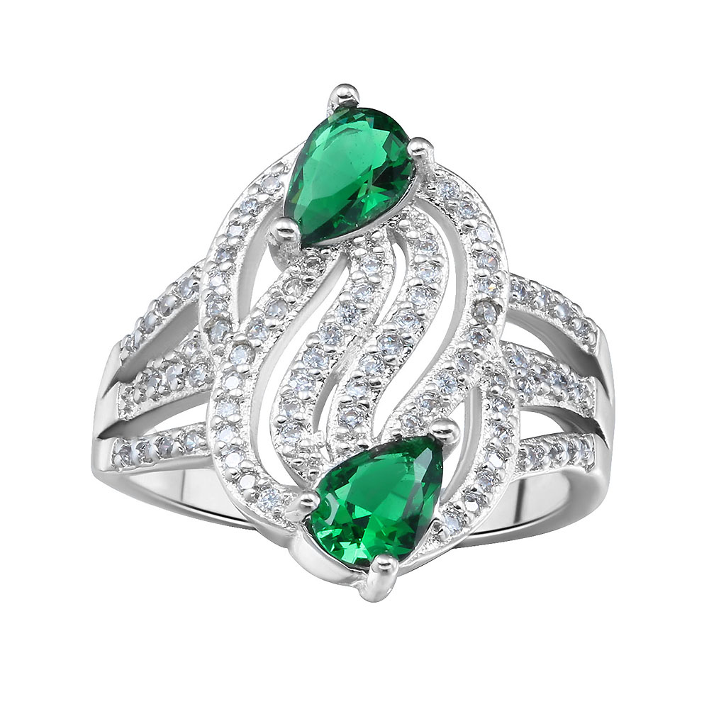 green cute full white zircon special design rings fashion jewelry New engagement rings for women night party Gift