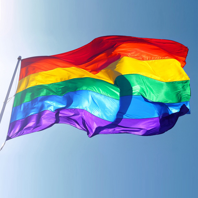 Hot Sale Rainbow Flags And Banners 3x5FT 90x150cm Lesbian Gay Pride LGBT  Flag Polyester Colorful Rainbow