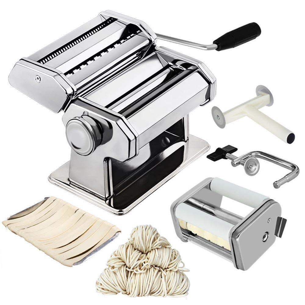 Noodle Pasta Maker Stainless Steel Nudeln Machine Lasagne Spaghetti Tagliatelle Ravioli Dumpling Maker Machine With Two Cutter title=