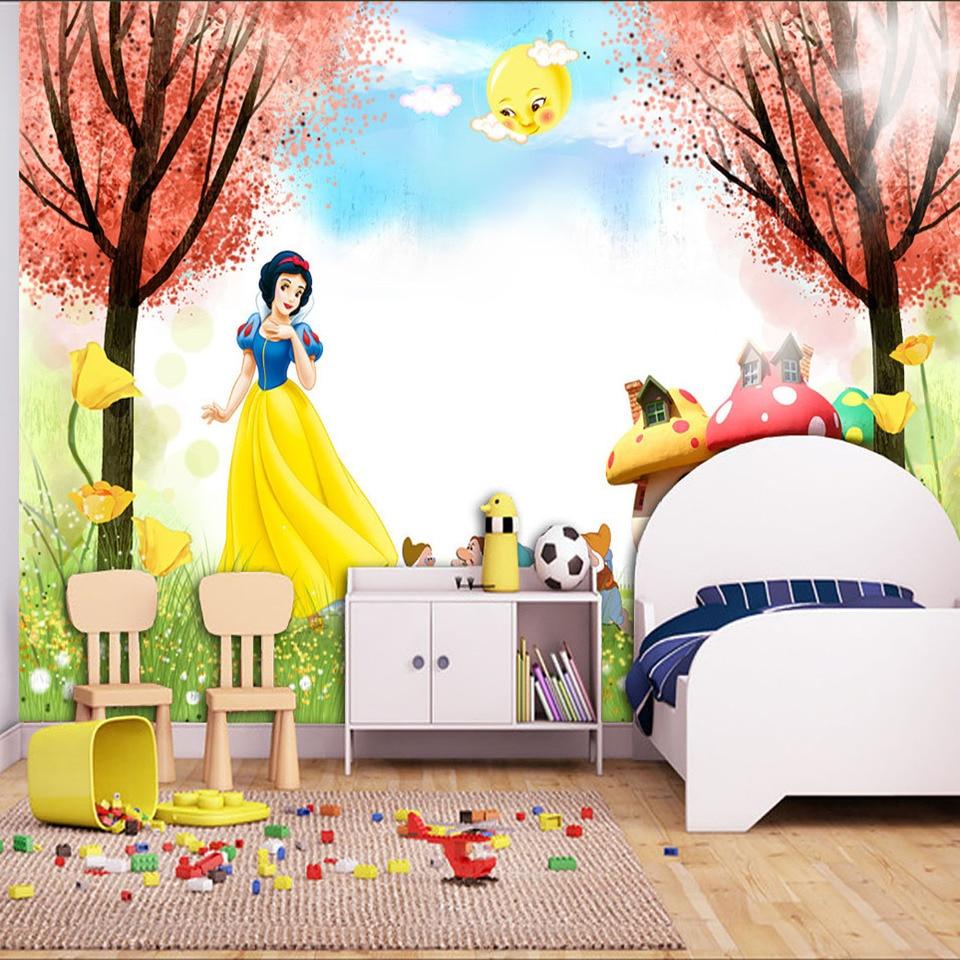 Cartoon 3D Wallpaper Snow White Photo wallpaper Princess Wall Mural interior decoration Girls Bedroom Hotel