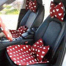 Love Red Чехлы рулевого колеса автомобиля Cotoon авто интерьер подголовник поддержка талии подушки сиденья чехлы Защита для девочек