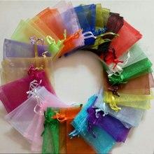 Venda quente 1000 pcs 5 cm x 7 cm com cordão bolsa jóias Embalagem Saco do Presente da festa Do Casamento Do Natal organza cordões saco de sacos de Fios