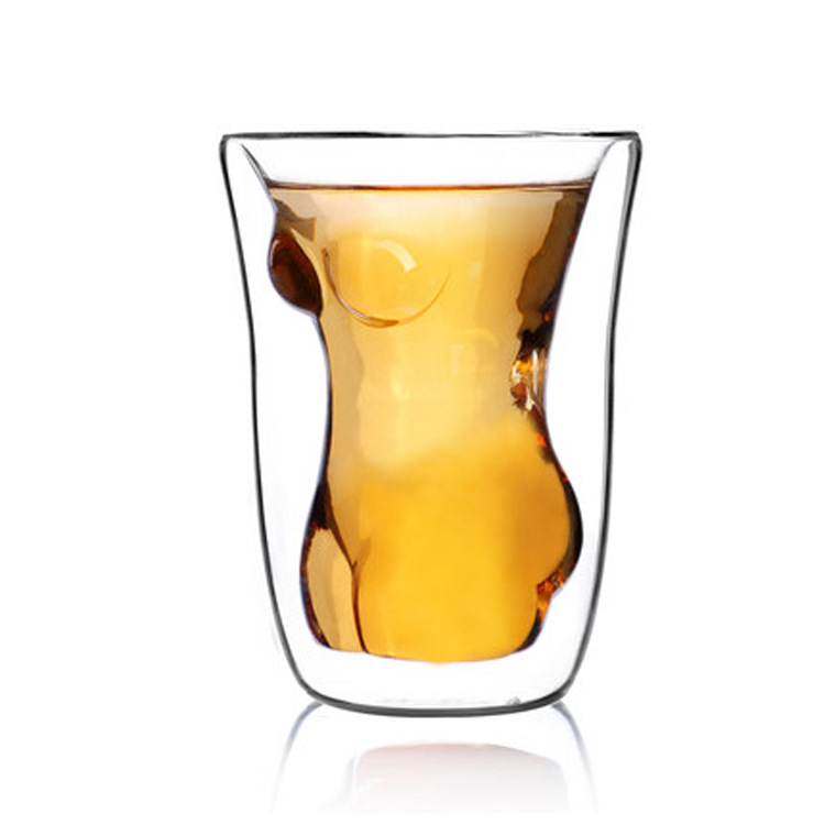 Creative Double layer Glass cup Women,150ml Heat Resistant Glass wine coffee Juice teacup Dinkware Home office Bar Party