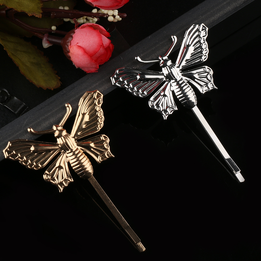 Butterfly hair accessories for weddings uk - 1 Piece Women Lady Gold Silver Butterfly Leaf Hairpin Golden Clip Boho Barrettes Hair Accessories Wedding Uk