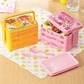 Bonito dos desenhos animados japoneses 3 camadas almoço Bento Box Student Bento lancheira de plástico caixa de Home Office
