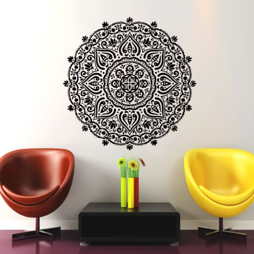 Mandala Menhdi Om Hindistan Hindu Budda Divan Dekoralı Vinil Etiket - Ev dekoru - Fotoqrafiya 2
