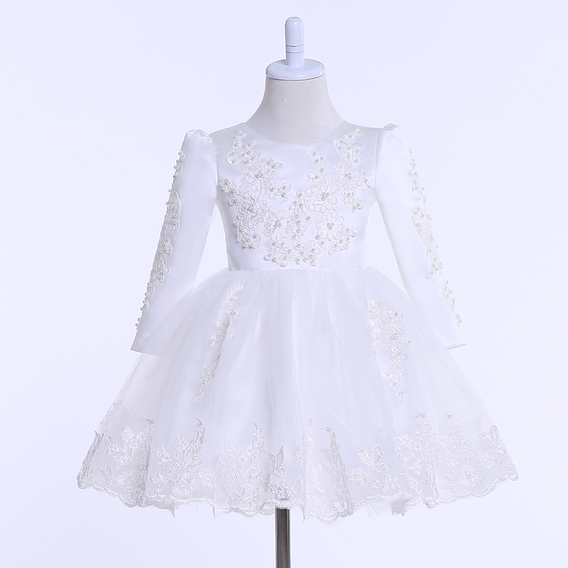Lovely Long Sleeve Flower Girl Dresses New Real Picture O Neck Lace Applqiues Pearls A Line Communion Dresses Kids Evening Gowns