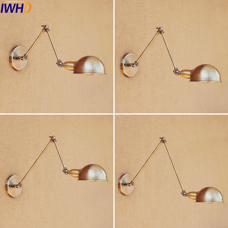 IWHD Copper Rustic Retro Vintage Wall Lights Fixtures Swing Long Arm Wall Lamp Style Loft Industrial Stair Light Appliques Pared