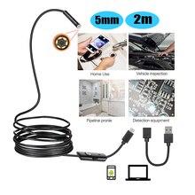 Endoscópio ip67 5mm 2m, android à prova d água suporte otg & uvc smartphone hd cobra mini usb endoscópio para carro/pcb/detecção de eardetecção