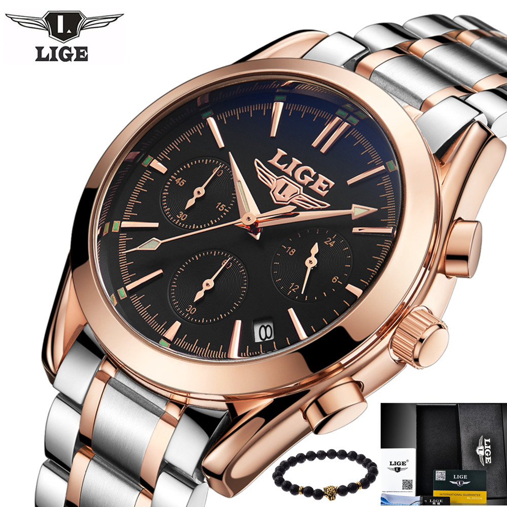 Lige men 39 s watches top luxury brands all steel quartz watch men 39 s casual fashion business for Lige watches