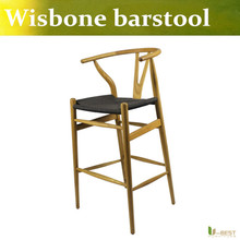 Free shipping U-BEST Mid-Century Modern Wishbone Wood-Y Stool,Wishbone Bar Stool in walnut finish,designer high bar stool