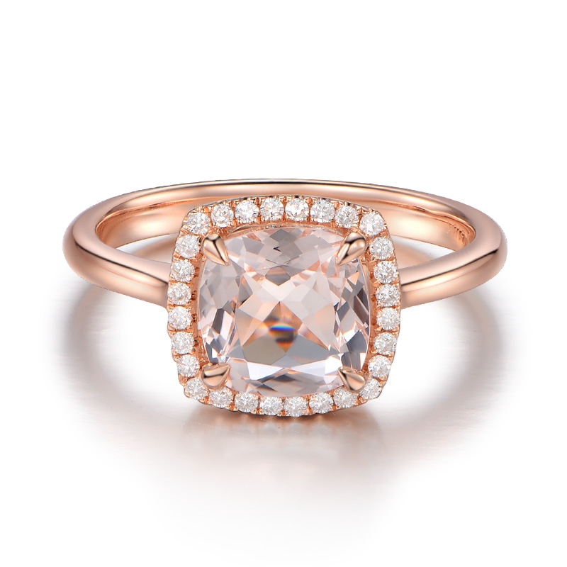 1.8ct Simulated Morganite Simulated Diamond Princess Cut 925 Sterling Silver Engagement Rose Gold Plated Fine Jewelry For Women