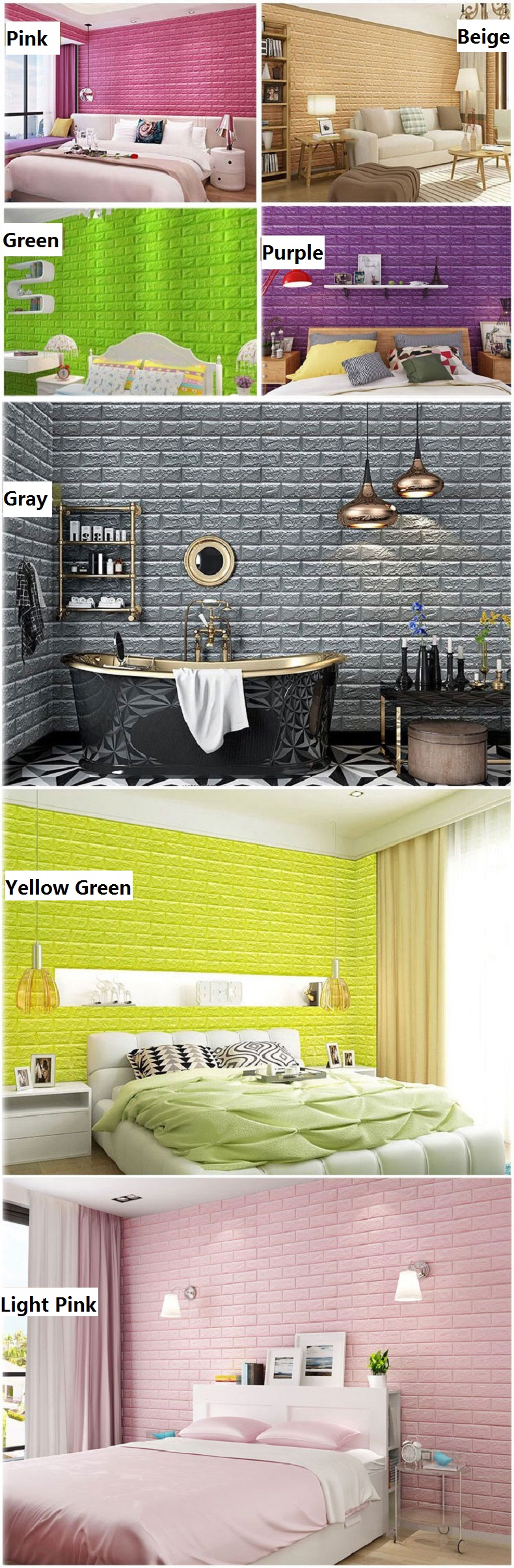 3D Wall Panels Peel and Stick Brick Wallpaper for Living Room ...