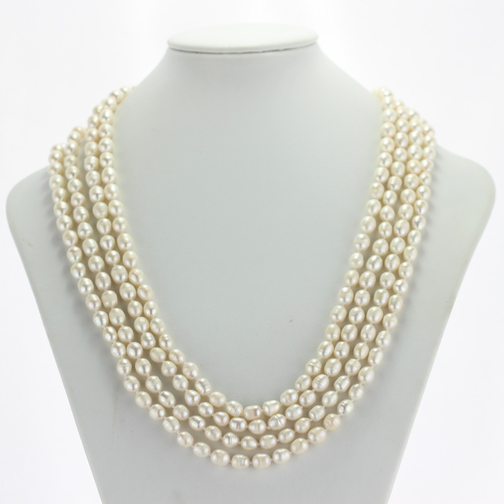 Real 100 inches 7mm A white rice shape natural freshwater pearl necklace for woman genuine cultured pearl necklace free shipping цена и фото