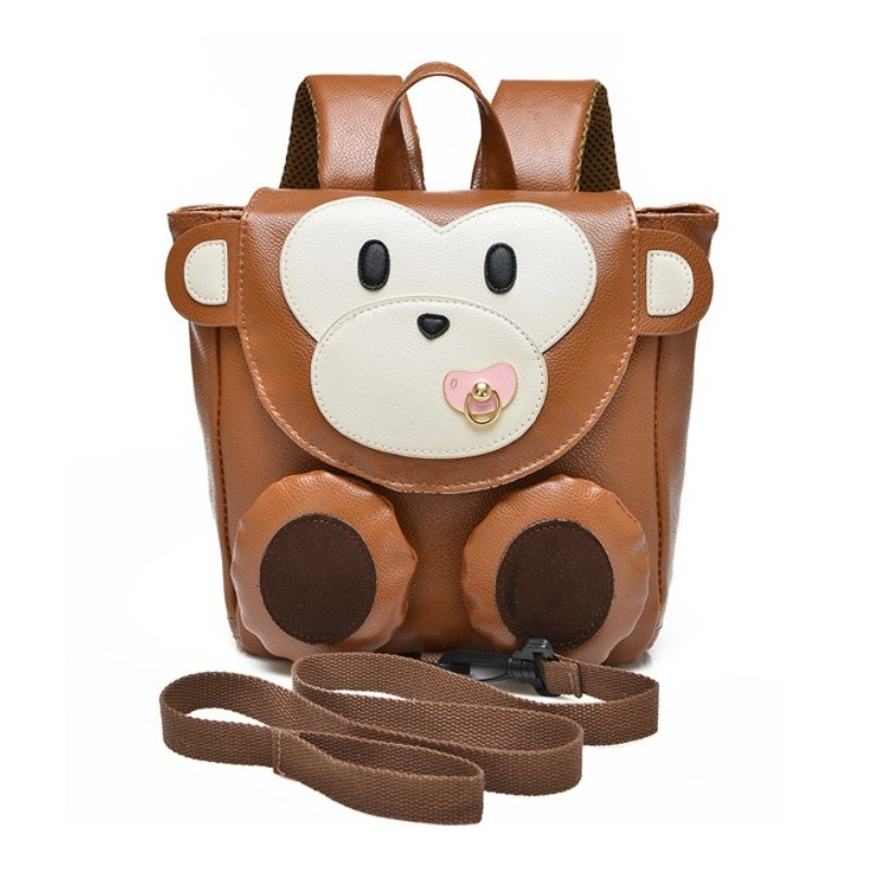 High Quality PU Leather 1 3 years old Baby Keeper Toddler Walking Safety Harnesses Cute Monkey