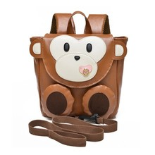 High Quality PU Leather 1-3 years old Baby Keeper Toddler Walking Safety Harnesses Cute Monkey Backpack Strap Bag