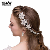 2015 Fashion Luxury Women Flowers Crystal Hair Clips Romantic Simulated Pearl Wedding Hair Jewelry Bride Accessories