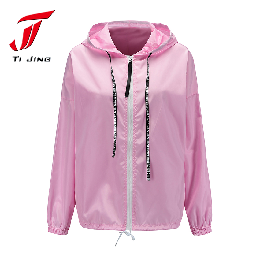 TJ woman summer jacket spring befree harajuku windbreaker coat women clothes hooded rain streetwear jackets outwears T29