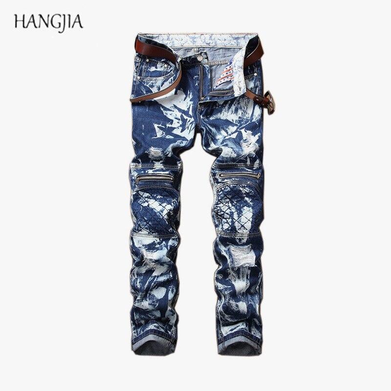 Jeans en Denim délavé à la neige pour hommes haute rue 2018 Original rétro bleu trou de fermeture à glissière droite hip-hop Baggy Denim pantalon