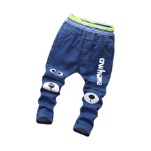 Boy Jeans For Children Slim Casual Pants Toddler Boys Girls Denim Jeans Cartoon Bear Fashion Kids Trousers Age 2-6 Y NZK0046