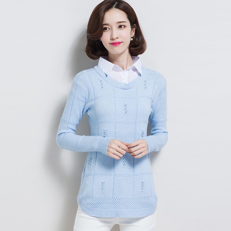 Autumn Winter Women Clothes 2019 New Knitted Pullover Sweater Women Shirt Collar Fake Two-piece Female Sweater Bottoming Shirt
