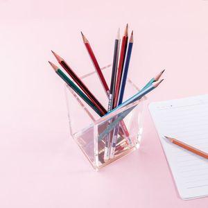 Image 3 - Премиум акриловый и розовое золото карандаш/держатель для ручек Настольный набор офисные аксессуары