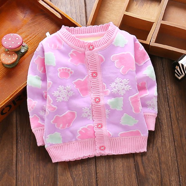 Send free Male child girls clothing baby sweater baby cardigan autumn and winter thermal underwear child plus velvet outerwear