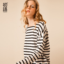Toyouth T Shirts 2017 Spring Women T Shirt Stripe Printed Loose Base Casual Long Sleeve O