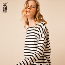 Toyouth T-Shirts 2017 Spring Women T-Shirt Stripe Printed Loose Base Casual Long Sleeve O-Neck Tees Tops(China)