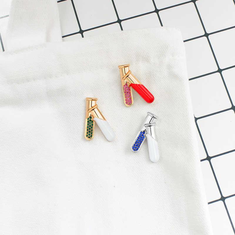 XEDZ Prova Boccetta Tubo di gioielli Spilla in Cristallo Spilli Oro Argento Scienza Chimica medica Medico Infermiere regalo di Laurea Medico Della Vite Prigioniera