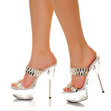 High Heels Slippers Women Summer Shoes Sexy Mules 15cm Transparent Heels Crystal Fashion Shoes Fenty Beauty Slides Big Size 43