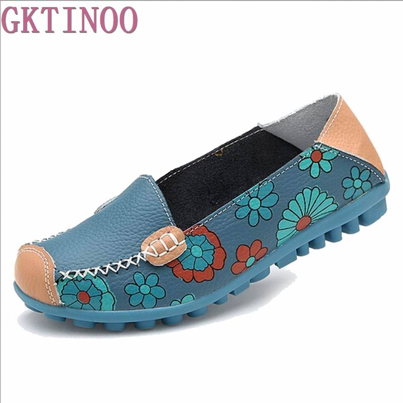 2017 Fashion Genuine Leather Women Flats Floral Print Patchwork Single Shoes For Woman Slip-on Mother Shoes sapatos femininos vintage embroidery women flats chinese floral canvas embroidered shoes national old beijing cloth single dance soft flats