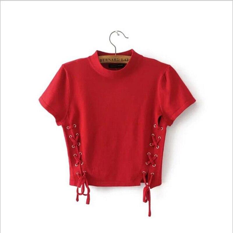 2018 Nouvelle mode d'été femmes t-shirt occasionnel à manches courtes dentelle up évider recadrée t shirt tee camisetas mujer tops blanc rouge