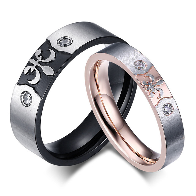 wedding band rings for couples china manufacturers wholesale price pair wedding ring rose gold plated ss1638