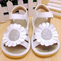 4 Colors Baby Girl Squeaky Sandals with Big Sunflower Toddler Girl Soft Shoes Leather Inside