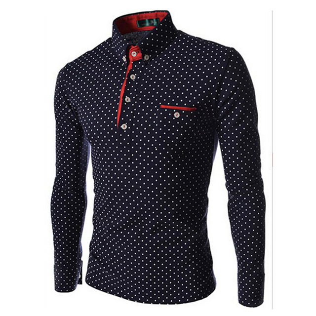 Hot Sale! 2015 New Men Polo Shirt Quality Brand Polka Dot Slim Fit Long Sleeve Casual polo shirt Men Camisa Polo Masculina MCT16