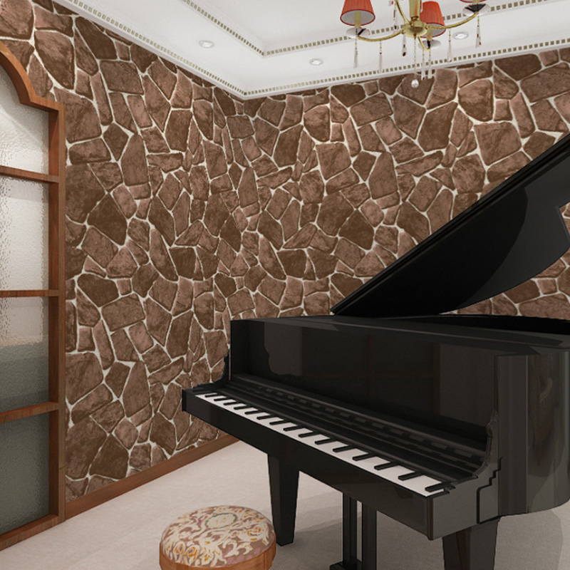 3D Effect Stone Wallpaper Coffee Wall Paper Embossed