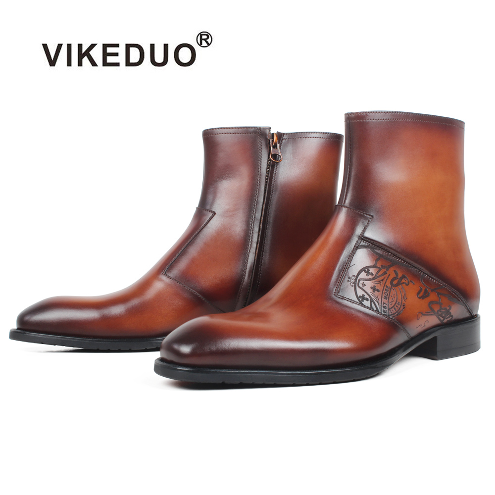 VIKEDUO Plain Patchwork Square Toe Mens Ankle Boot Patina Letter Engraving Genuine Leather Boots Brown Custom Made Botas HombreVIKEDUO Plain Patchwork Square Toe Mens Ankle Boot Patina Letter Engraving Genuine Leather Boots Brown Custom Made Botas Hombre